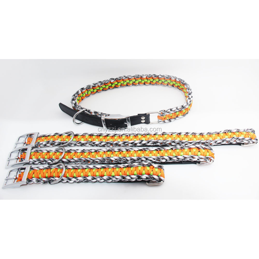 Matching Leash Pet Classic Solid Padded Plastic Paracord Hunting Big Dog Collar Collars With Jacquard Pattern Metal Buckle