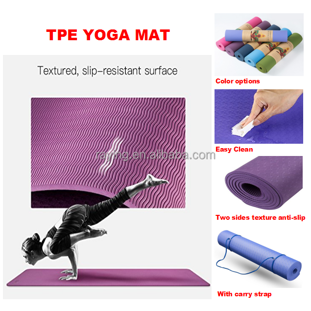 "Wholesale eco friendly 72""*1/4"" anti slip non toxic tpe yoga mat with Carry Strap for Home yoga and Outdoor <strong>fitness</strong>"