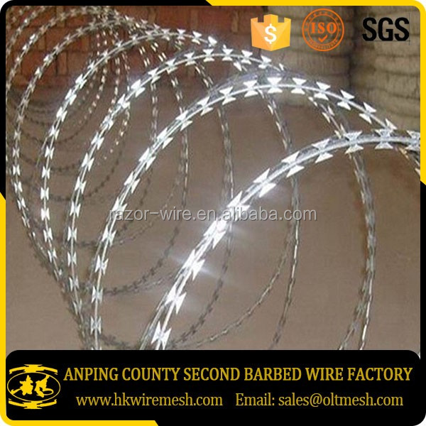 CBT-60 galvanized concertina razor barbed wire with PVC coated