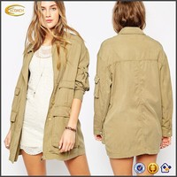 OEM 2015 women Military Jacket Mid-weight woven fabric long winter jacket
