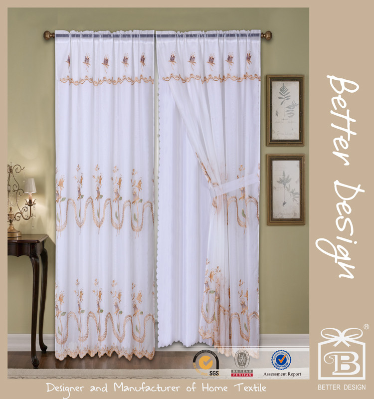 2pcs voile embroidery living room valance/lace/sheer curtains with taffeta backing and tie backs