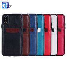 Top Selling Products in Alibaba 2018 Crazy Horse Texture Leather Back Cover Kickstand Card Slots Wallet Pouch Case For iPhone X