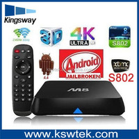 New arrival XBMC full loaded tv box amlogic S802 full HD 4K satellite tv black box