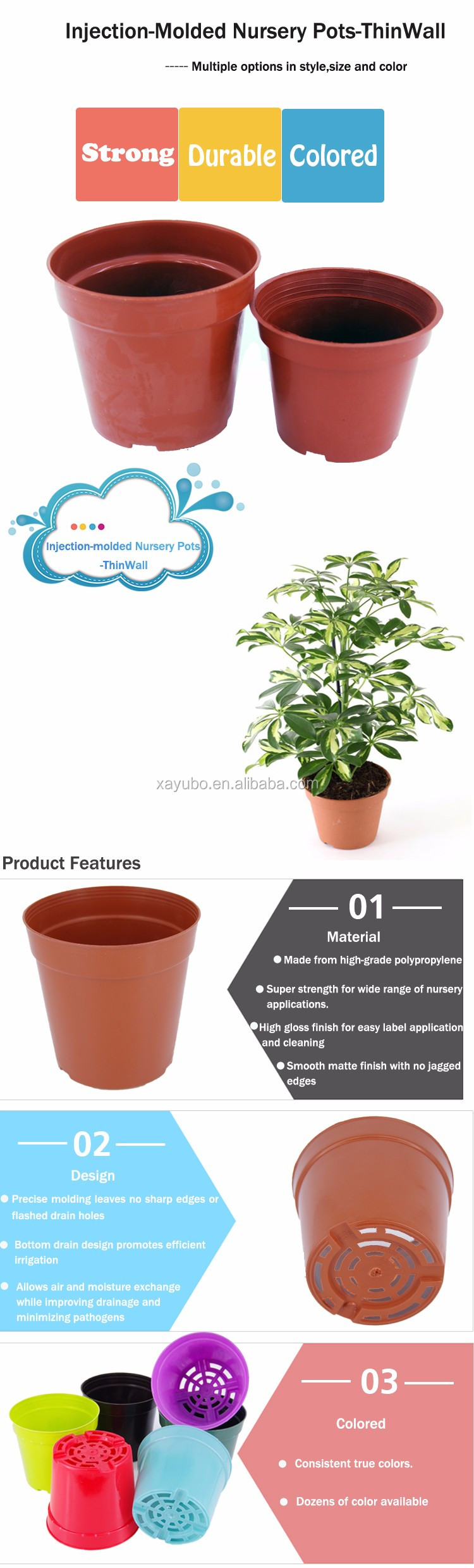 Hot sale home decoration herb plastic 2 inch mini nursery injection flower pots