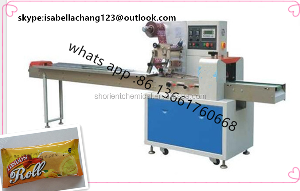 pillow type bag packaging machine for cake /bread /sandwich