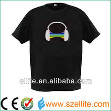 Particular headphone costom el animated flashing t-shirt
