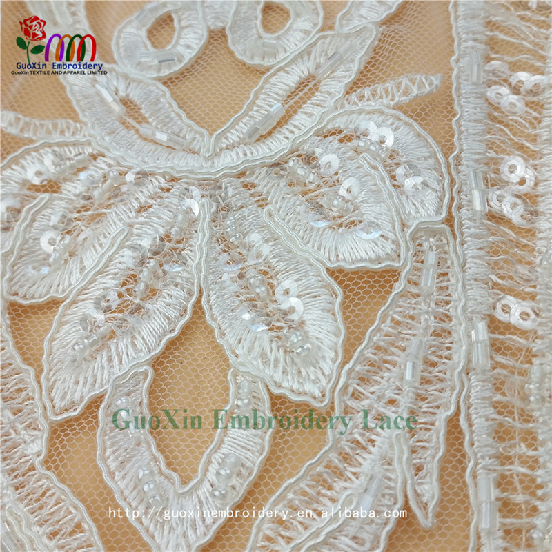 2017 White Nigerian Wedding African Tulle Beaded Lace Fabric Wholesale