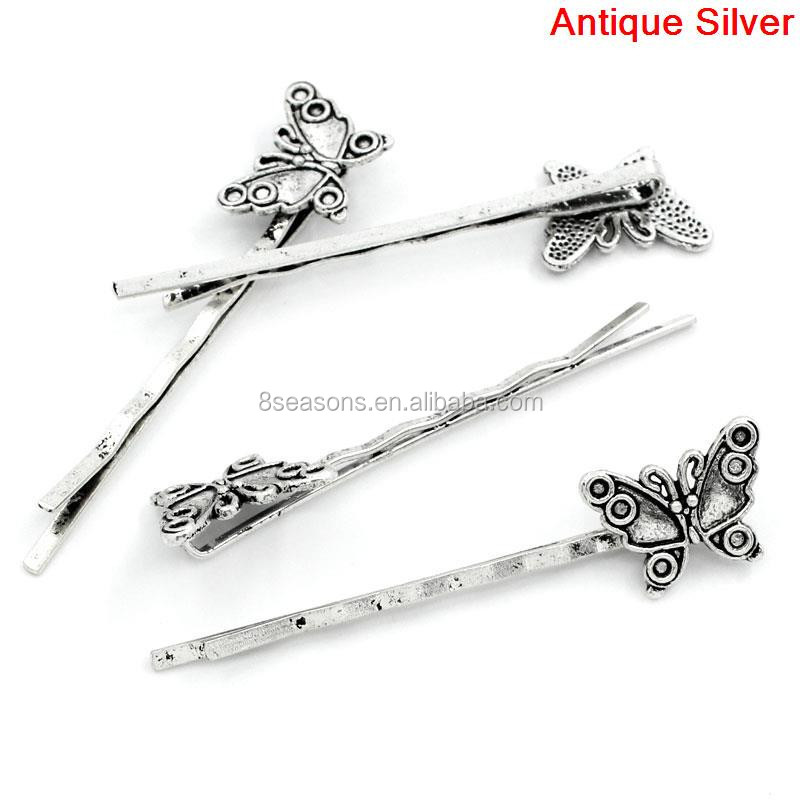 Cheap Wholesale Antique Silver Butterfly Hair Clips Bobby Pins Fancy Hair Pins