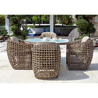 Half round design outdoor used furniture cheap cane chair and wicker latest dining table designs