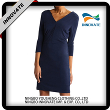 Wholesale latest ladies fashion 3/4 long sleeve V neck dresses