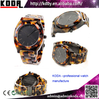Tortoise Bracelet Plastic Japanese Movement Cheap Price Amber Watches