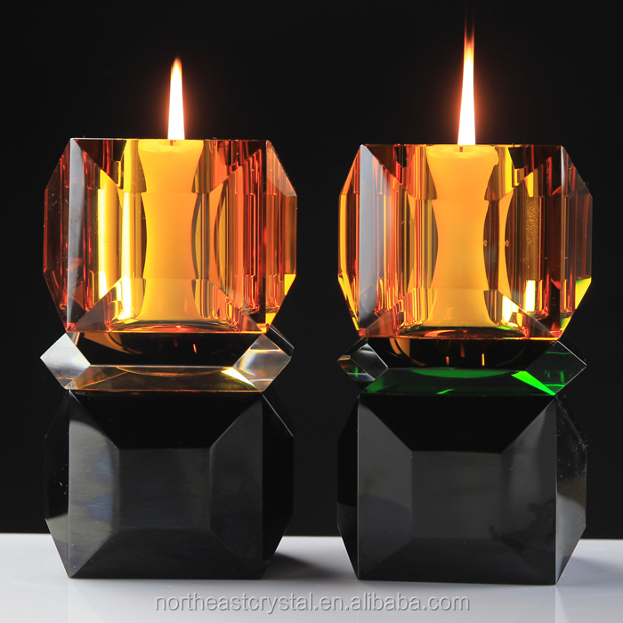 Customized Luxury Tea Light Crystal Candle Holder