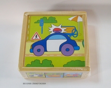 9 pcs kids toys factory wood car cartoon blocks cube puzzles in 3d box puzzle track vehicles