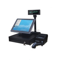 15 inch pos terminal /all in one touch PC/pos system with mini rceipt printer