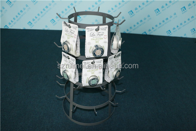 4 Tiers Countertop Metal Cosmetic Display Stand With 27 Hooks