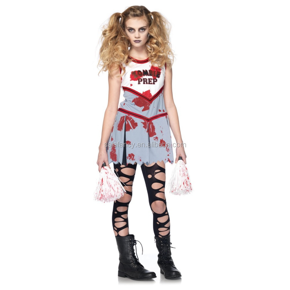 Zombie Cheerleader Girl Costume kids fancy dress costumes for kids sexy school girl photo costume QBC-8617