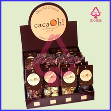 Eco-friendly Full Color Retail Store Corrugated Cardboard Chocolate Sticks Counter Top Display Stand With High Quality