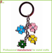 flower shape ornament accessory key chain with stone