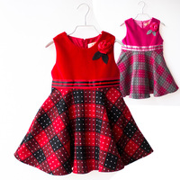 Baby Girl Autumn Winter Vest Party Dresses,Kids Flowers Plaid Princess Dress,Children Maxi Cotton Clothes Wholesale