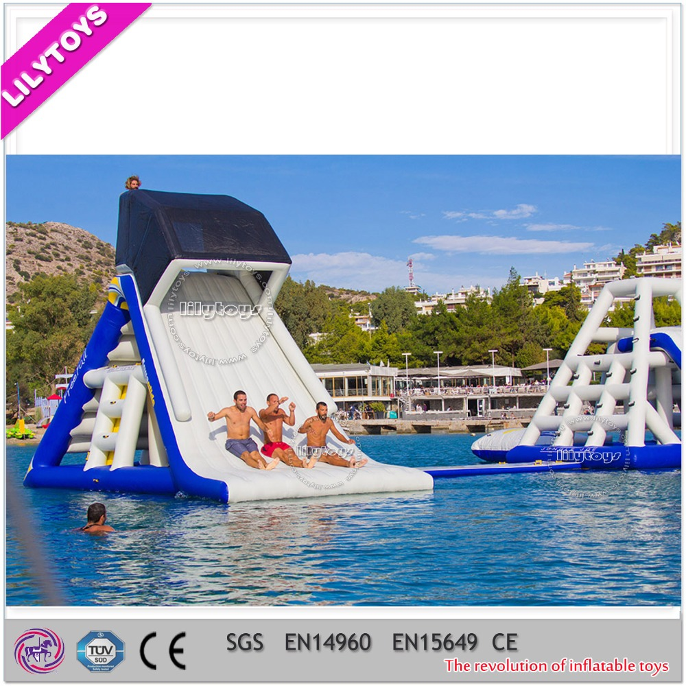 Summer sea crazy game Lake Inflatable aqua water slide for sale