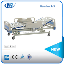 Popular / Durable High-end Three function manual movable / adjustable /floding hospital nursing bed with ABS headboards