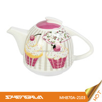 Unique 870ml Porcelain Ceramic Teapot with Cake Design