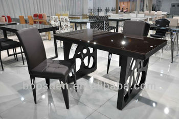 Glass Top with Steel Frame Dining Table BSD-35041