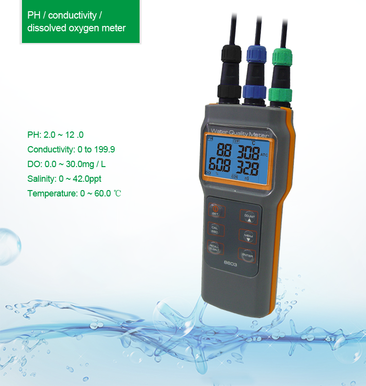 AZ8603 Handheld Water Quality Tester Multuple Function PH Conductivity Meter