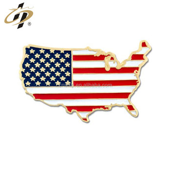 Bulk items customize metal gold United States Shape Flag Lapel Pin
