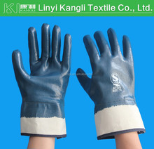 Blue Nitrile Coated Cotton Jersey gloves oil resistant gloves
