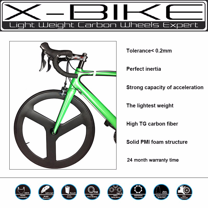 Solid PMI foam structure light weight carbon 3 spoke bicycle wheel, road tubular 3 spoke bicycle wheels