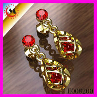 Red Ruby Crystal Permanent Jewelry Cubic Zirconia Earrings