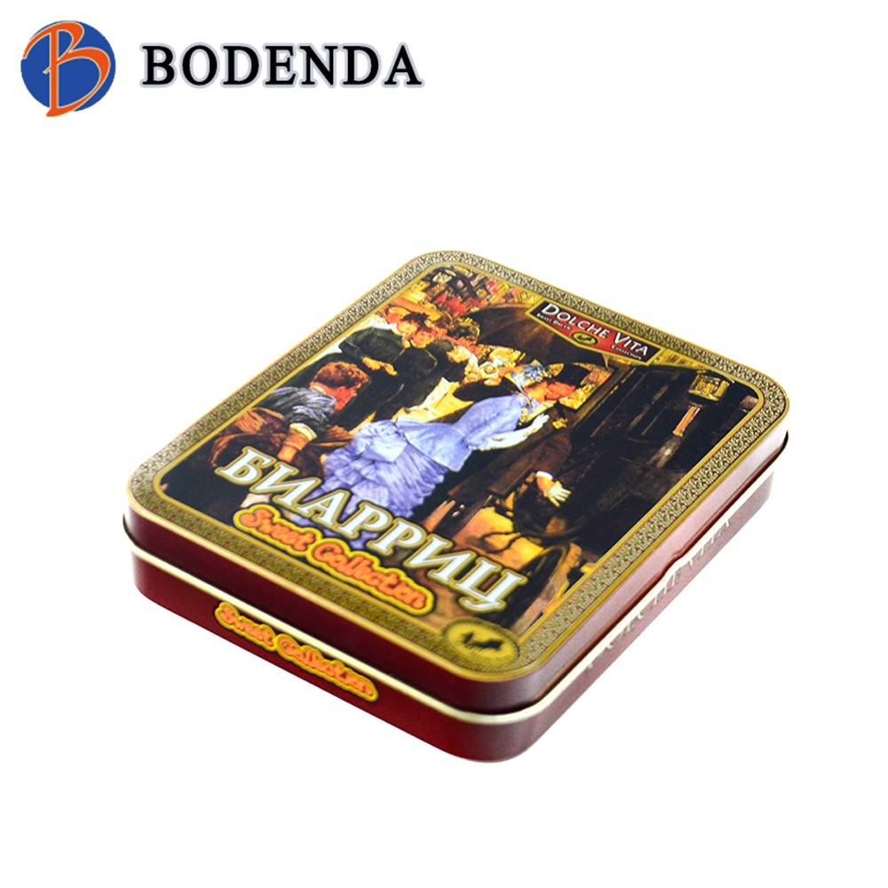 high quality wholesale Customized Promotional Printed Square Chocolate Tin Box