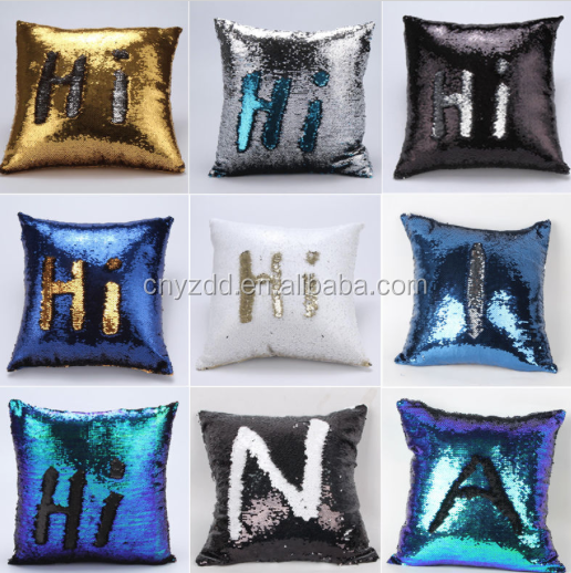 free sample Reversible Sequin Mermaid Glitter Sofa Cushion Cover Pillow Case Double Color,Mermaid Bright Pillow Covers