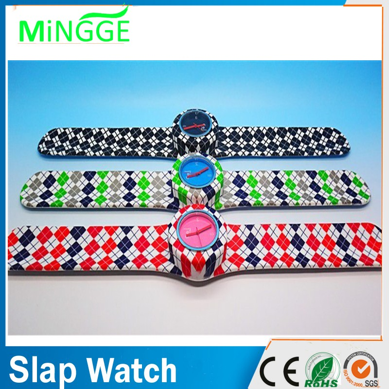 cheap logo printed slap silicon watch