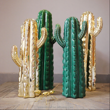 Decorative golden artificial cactus ceramic cactus