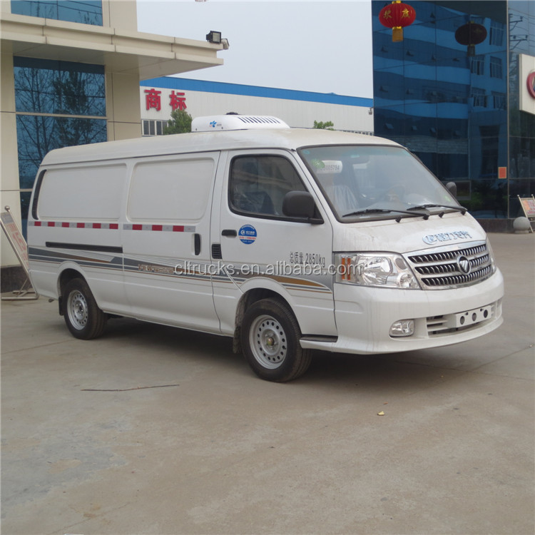 Bottom price 1ton foton refrigerated truck sale mini refrigerated van
