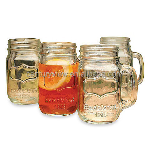 Chalk Board Clear Glass Mason Jar Tumbler With Handle
