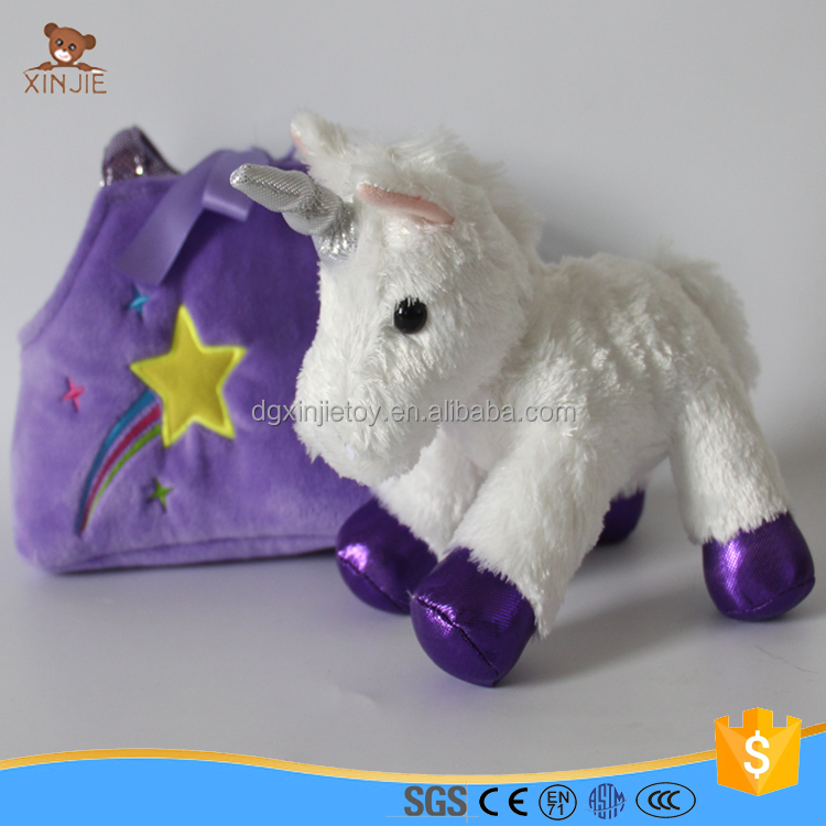 hot sale white plush unicorn toy with bag
