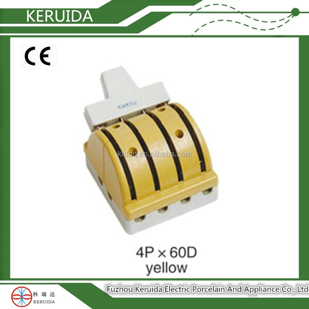 electric yellow 4P 60A double throw porcelain knife switch
