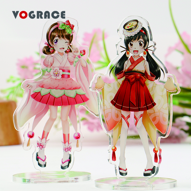 Vograce translucence personalized make your own logo any shape figure printing cheap standee mini desk display