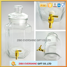 Wholesale drinking beverage dispenser glass tap jar with metal lid