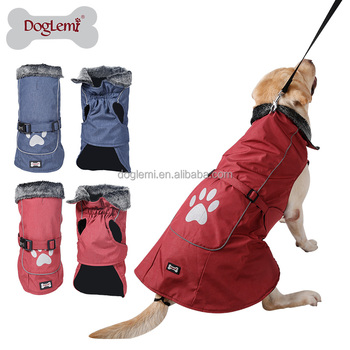 Waterproof Cold Weather Fleece Lined Sports Dog Pet Vest Jacket with Reflective Lining and Paw