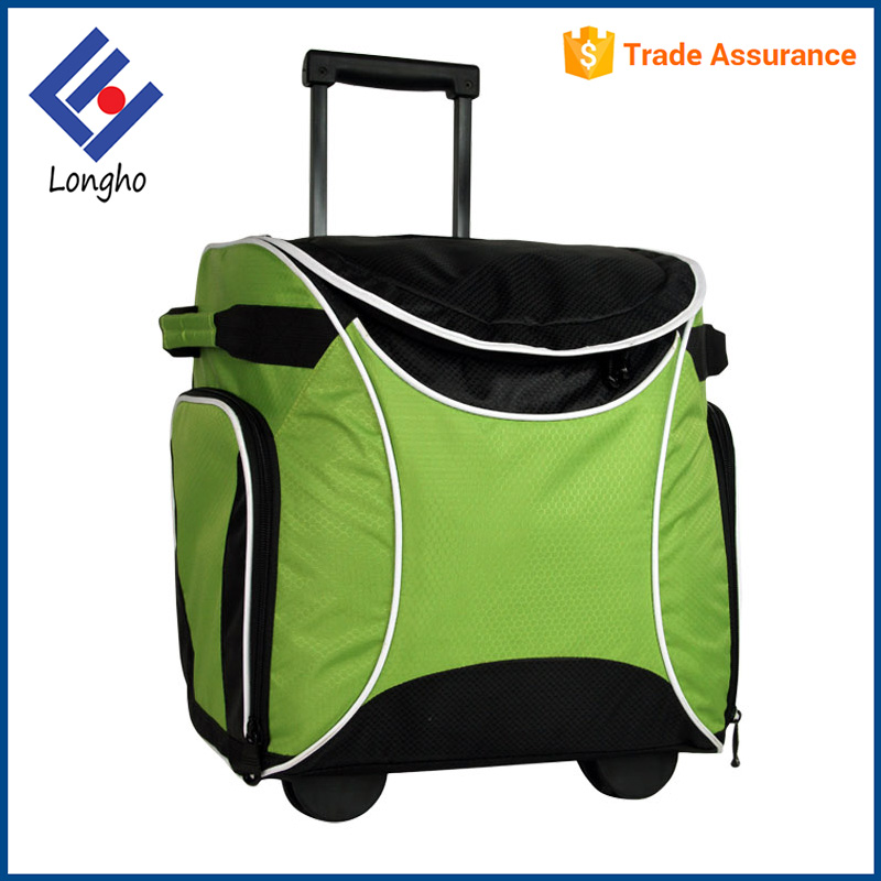 New fashion 2 side zip mesh pockets picnic bag green color, double side soft handles insulated cooler bag on wheels