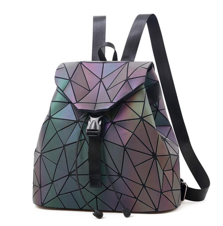 Women Luminous Geometric Backpack Reflective Fabric Fluorescent Gradient Backpack