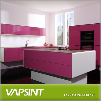 Mat purple lacquer modular kitchen with island