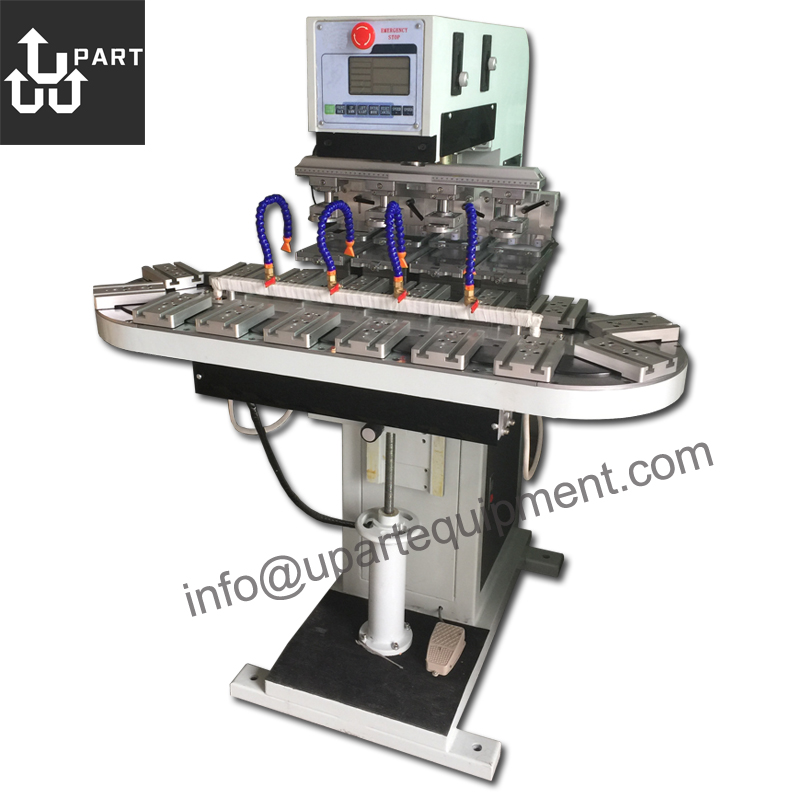 upart 4 color ink cup tampografia machine pad printer with conveyor