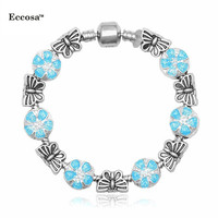 Wholesale Bracelet jewelry 2016 Murano Glass Beads Lucky stone 925 silver bracelet