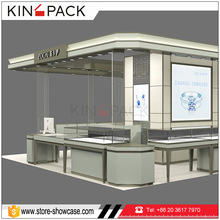 High end wood commercial jewelry showcase kiosk in mall jewellery display cabinets