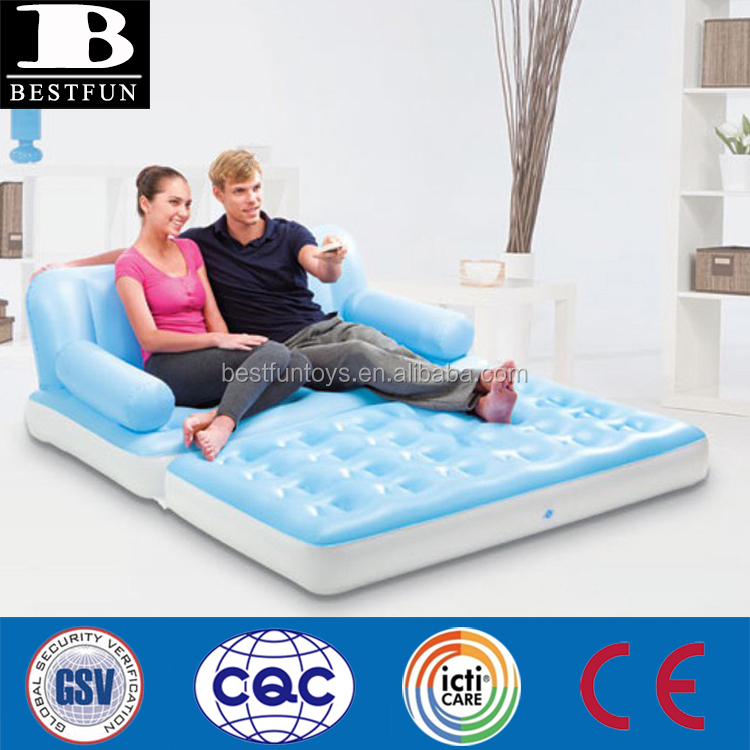 high strenth flocking PVC inflatable 5 in 1 multi-functional couch durable inflatable sofa bed pull-out double lounge furniture